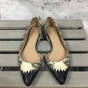 203cfc84f Tory Burch Shoes - Tory Burch Snakeskin D Orsay Woven Leather Flats